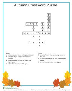 Fall-Theme Language Arts Crossword Puzzle Answer Sheet